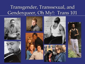 "First slide of my Trans 101 PowerPoint. It includes a title (""Transgender, Transsexual, and Genderqueer, Oh My!: Trans 101"") and seven photos of transgender indivduals"